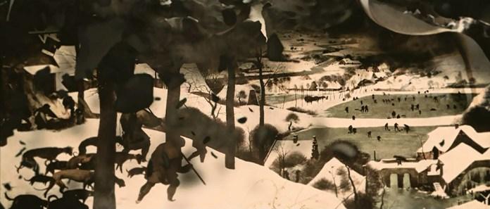 Fig. 3: Lærredet brænder! Brugen af Bruegels maleri Jægernes hjemkomst inviterer til en særlig form for fordybelse.