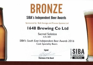 July 2016 Sacred Solstice Won Bronze in SIBA South East Independent Brewers Award  2016