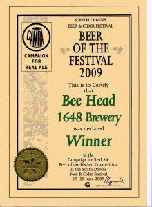 Bee Head won South Downs CAMRA Festival Beer of the Festival Winner 2009.