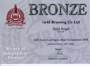 Gold Angel won SIBA South East Bronze for Premium Bitter 2008.