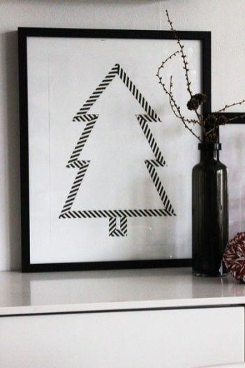 Bild: Pinterest // Mit Maskingtape weihnachtliche Formen auf ein weißes Papier kleben