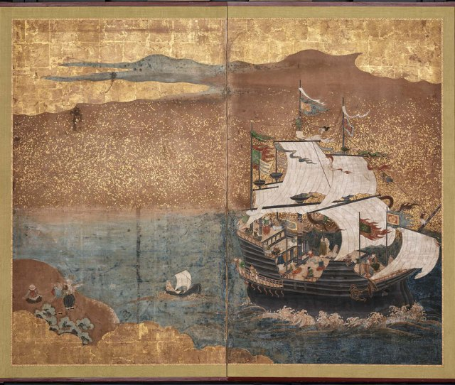 Southern Barbarian Nanban Jin Boat Formerly Attributed To Kano School Japanese