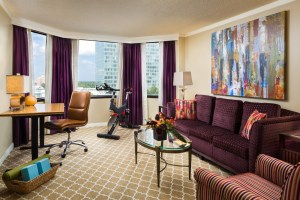 Equipped with yoga props and a stationary spin bike, the suite is a fitness buff's dream.