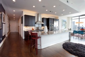 Brazilian wood floors run throughout the open floor plan, adding additional warmth to the condo.