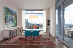 The dining room provides breathtaking views of downtown and Midtown.