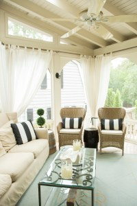 Because the family spends a lot of time outside, the back porch was a major factor in buying the house.