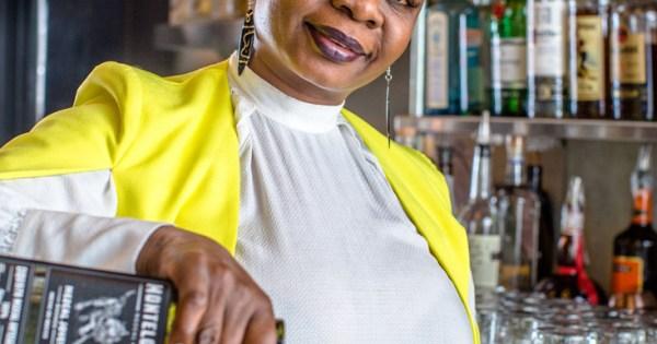 Thandi Walton prepares a mezcal cocktail.