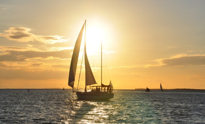 Enjoying Key West's famous sunset from aboard a sailboat