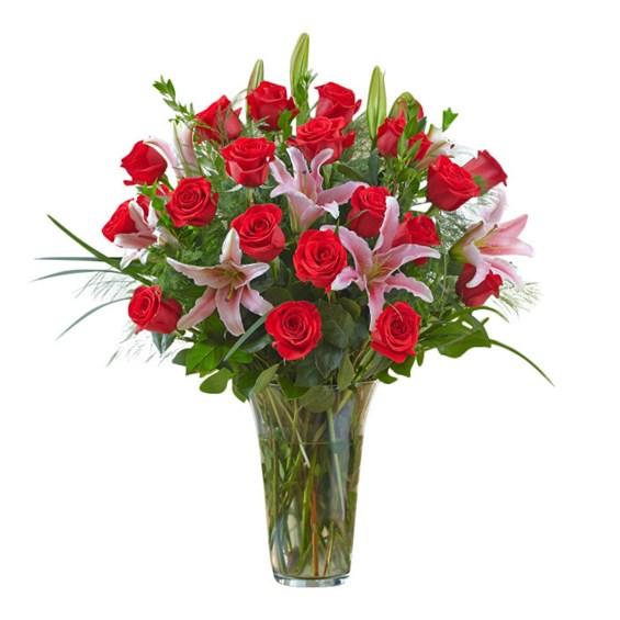Big Roses Vase Dozen