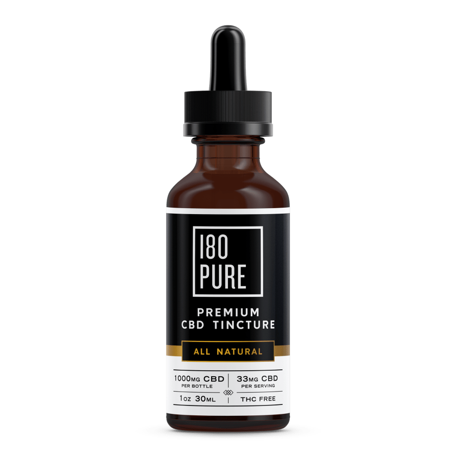 180Pure CBD Premium Tincture All Natural Bottle