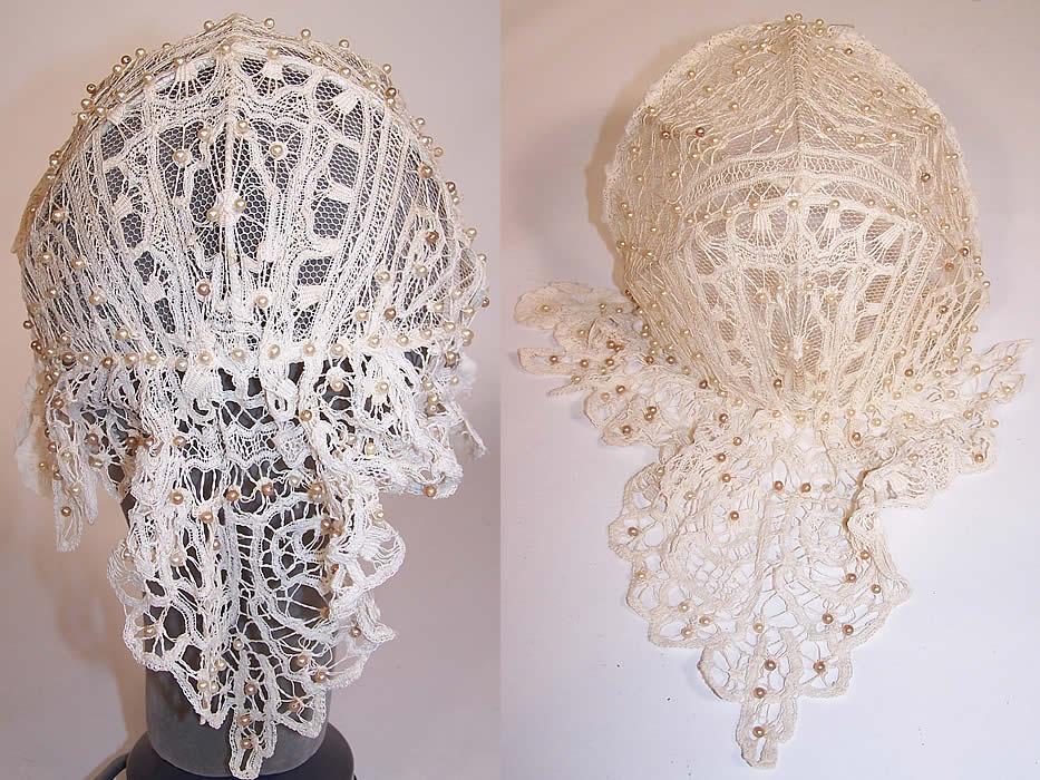Vintage White Battenburg Lace Pearl Beaded Bridal Wedding