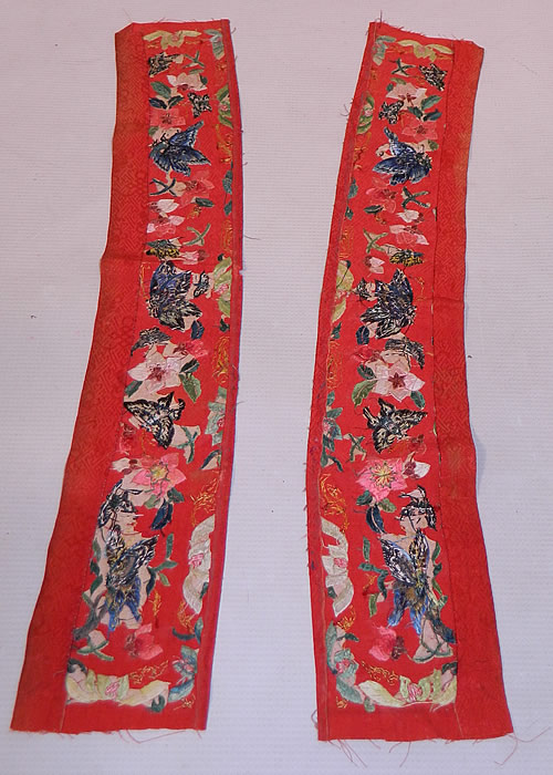Antique Chinese Red Silk Butterfly Embroidered Wedding