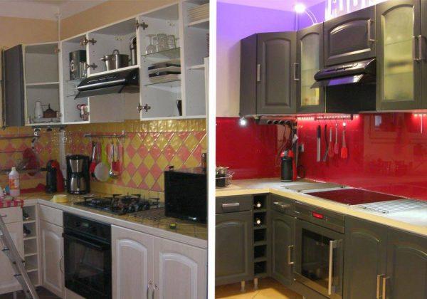 avant apres une cuisine moderne en rouge et gris