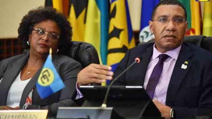 Mia Motley of Barbados and Anrew holness of Jamaica