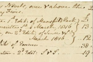 "Autograph note concerning the ""Profits of my Novels, over and above the £600 in the Navy Fives"" ca. March 1817"