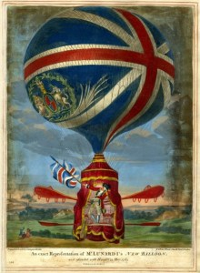 An exact representation of Mr Lunardi's New Balloon as it ascended with himself 13 May 1785