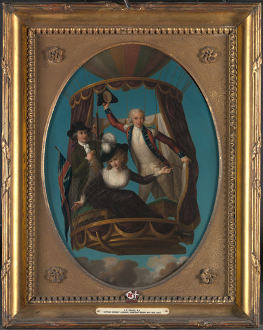 John Francis Rigaud, Captain Vincenzo Lunardi with his Assistant George Biggin, and Mrs. Letitia Anne Sage, in a Balloon (1785).  Oil on copper.  19 x 14 inches (48.3 x 35.6 cm).  Yale Center for British Art, Paul Mellon Collection.  B1981.25.532