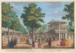 Vauxhall Gardens shewing the Grand Walk at the Entrance of the Garden and the Orchestra with the Music Playing.  John S. Muller, ca. 1715-1792, German, active in Britain; after Samuel Wale, 1721-1786, British.  After 1751.  Yale Center for British Art, Paul Mellon Collection.