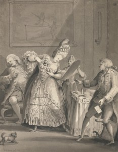 """Samuel Hieronymus Grimm, """"The English Lady at Paris"""" (1771).  Gray wash with black ink over graphite on medium, slightly textured, cream laid paper.  Sheet: 12 1/2 x 9 5/8 inches (31.8 x 24.4 cm).  Inscribed in gray ink, lower left: """"S H Grimm fecit 1771""""; in gray ink, center right: """"To Alderman   Paris""""; in brown ink, verso, upper center: """"The English lady at Paris - No. 8."""", Signed and dated in gray ink, lower left: """"S H Grimm fecit 1771""""  Yale Center for British Art, Paul Mellon Collection"""