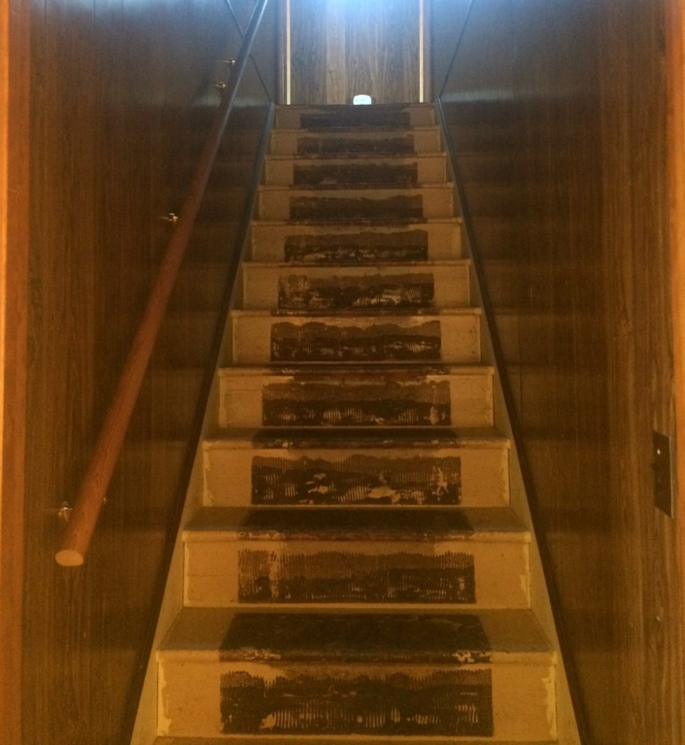 A dark wood paneled stairwell in a 1905 farmhouse