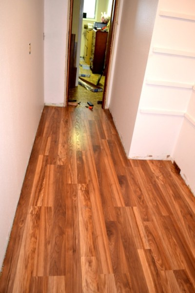 Laminate hardwood in walk-in pantry
