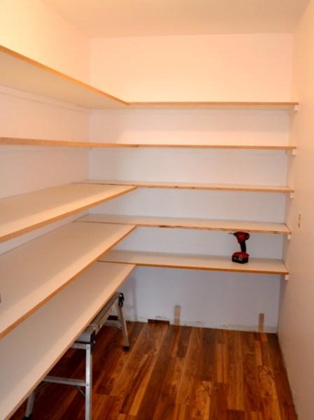 Installing melamine shelving in walk-in pantry