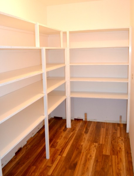 Melamine shelving in a walk-in pantry
