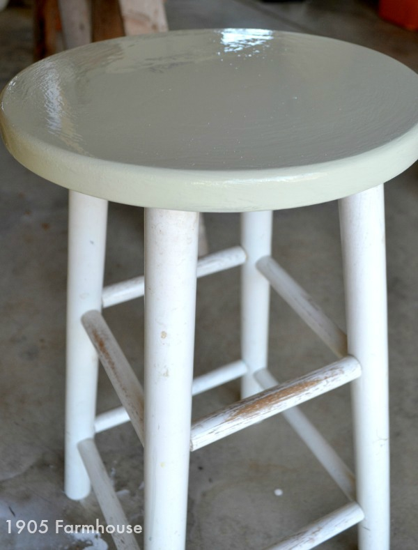 First application of Miss Mustard Seed milk paint on a trift store bar stool