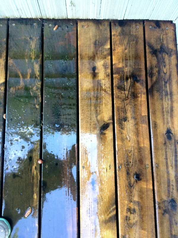 Deck boards during pressure washing