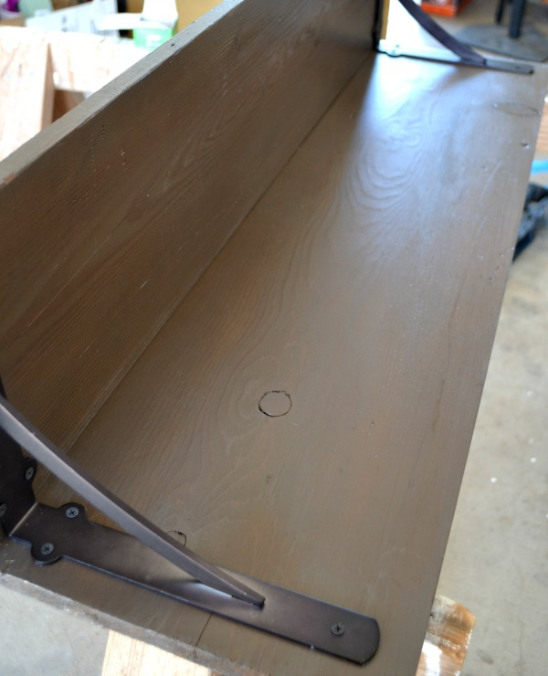 DIY faucet hook and shelf using L brackets for support