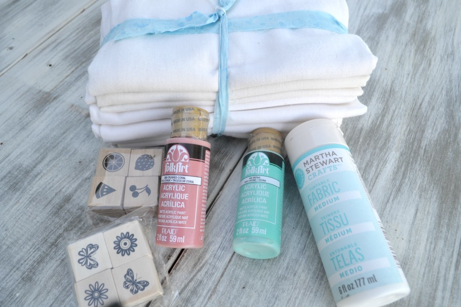 Simple tea towels transformed with a little paint and rubber stamps