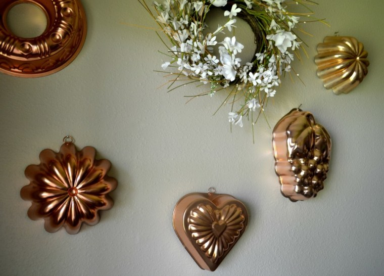 Copper molds used for display in a laundry room