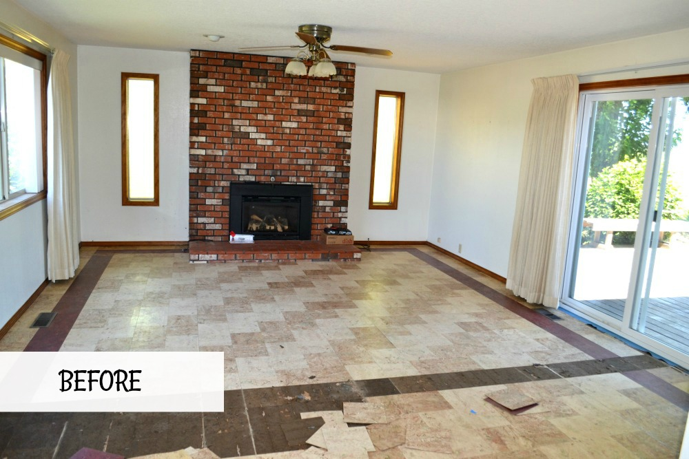 Transforming tiled living room floors to reveal original hardwood in our 1905 farmhouse