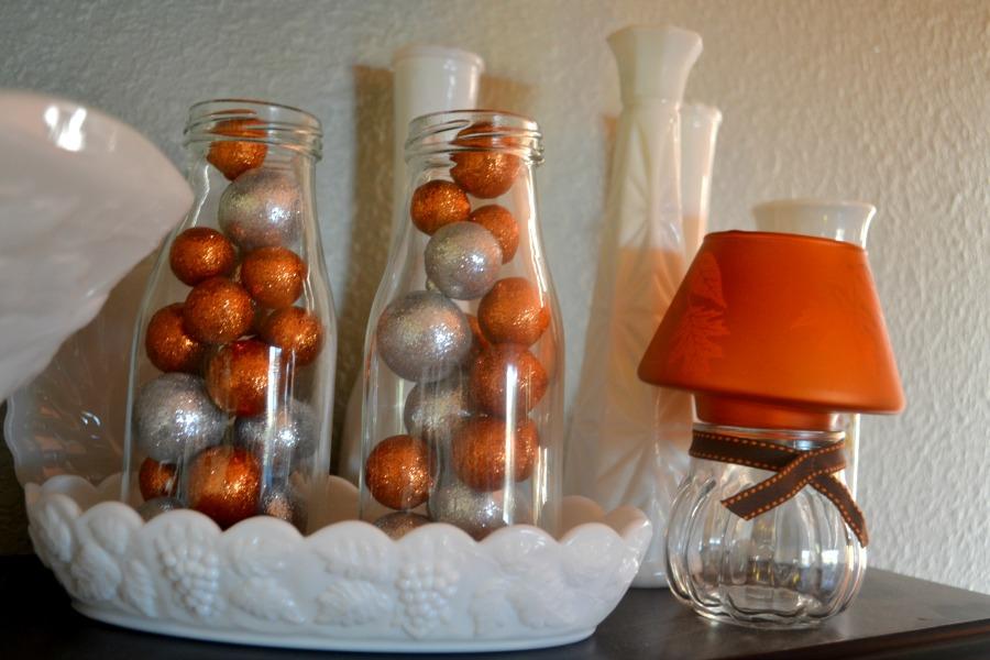 Fall decor using milk glass