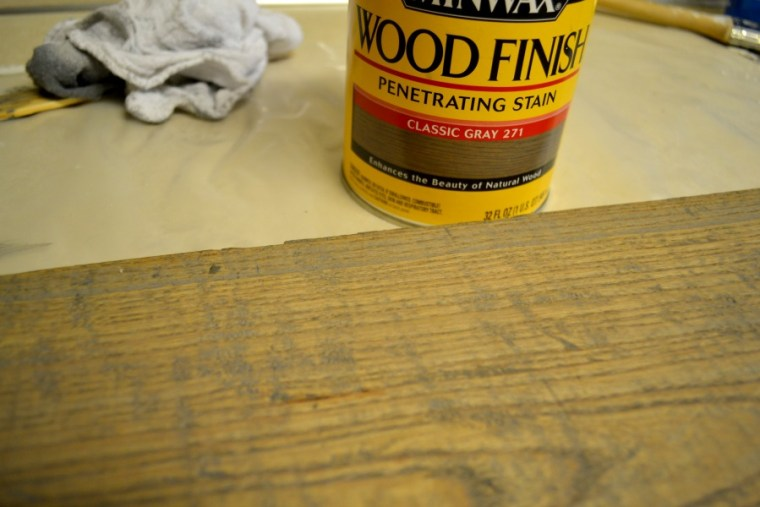 Sign board with 2 coats of Minwax Penetrating Stain applied