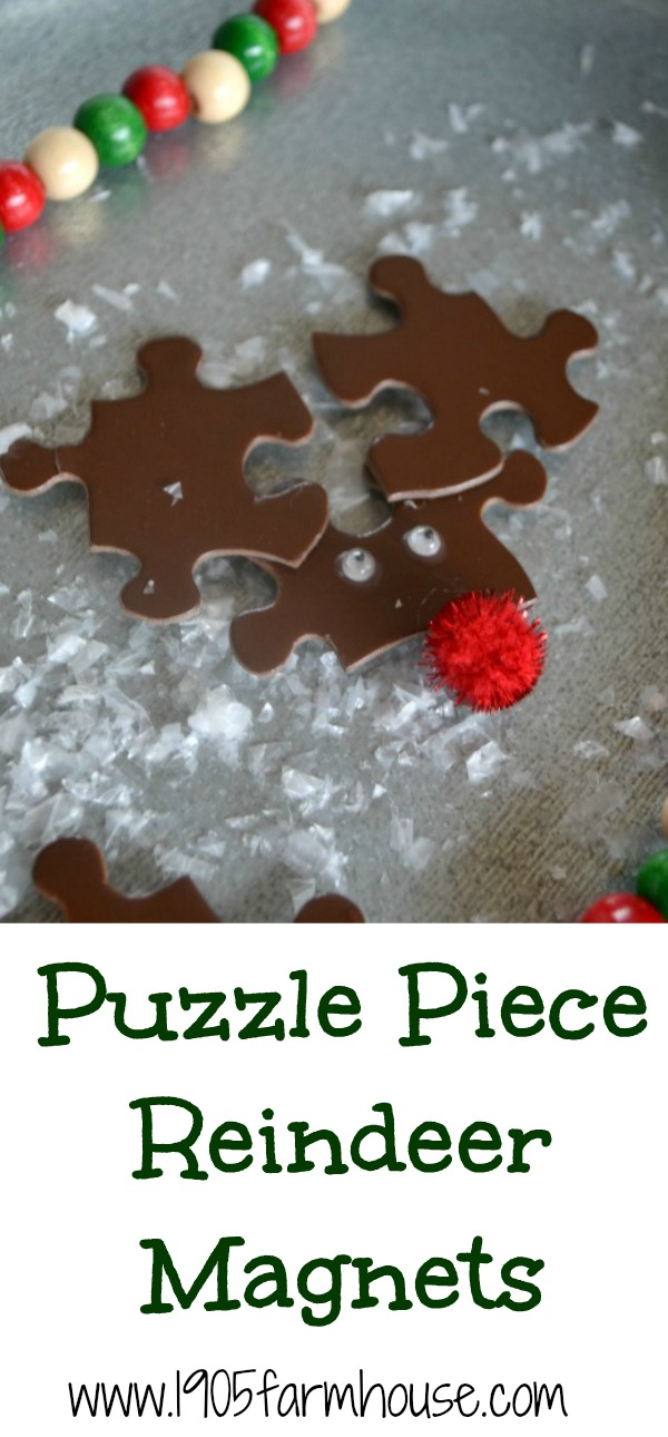 Puzzle piece reindeer make a fun and thrifty magnet or ornament