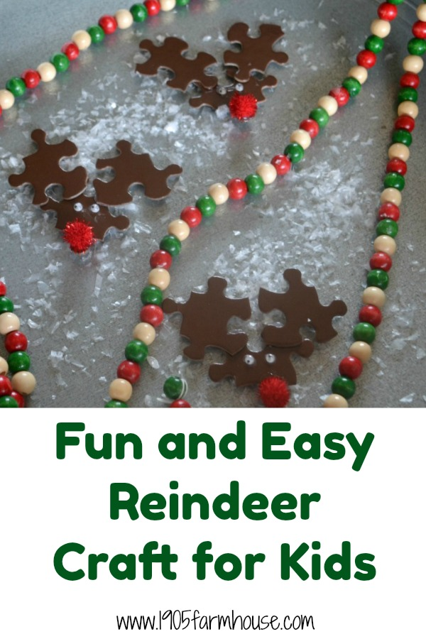 Puzzle piece reindeer make a fun and easy craft for kids of almost any age