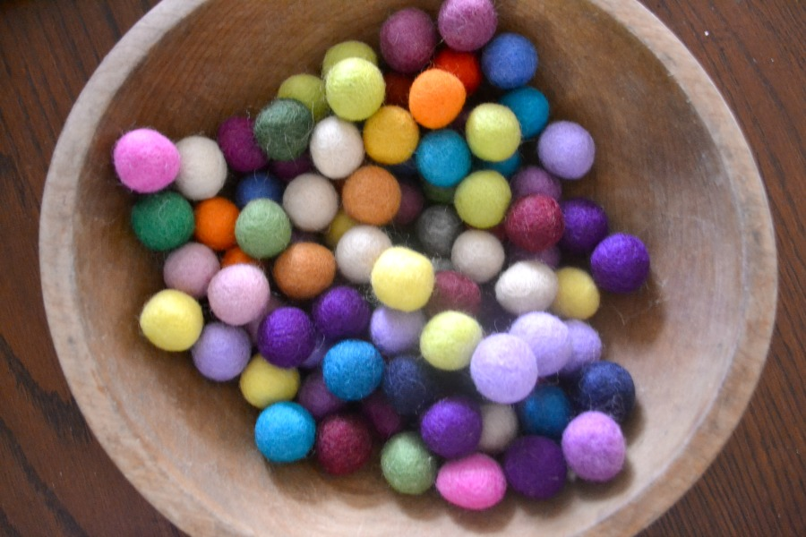 Felt balls ready for crafting
