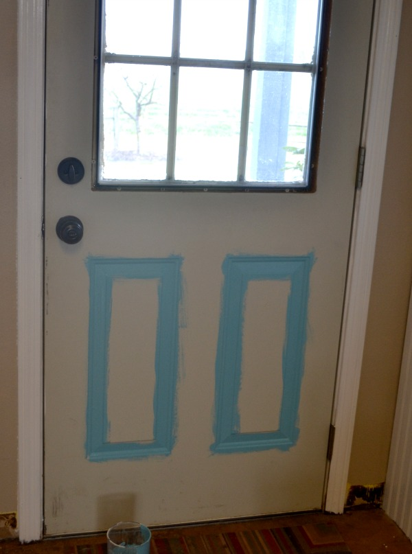 When painting any door with recessed areas you will want to paint those first