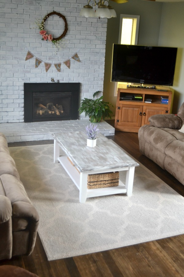 An updated coffee table painted in milk paint