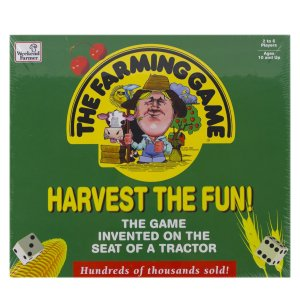 A green game box with the title The Farming Game-Harvest the Fun