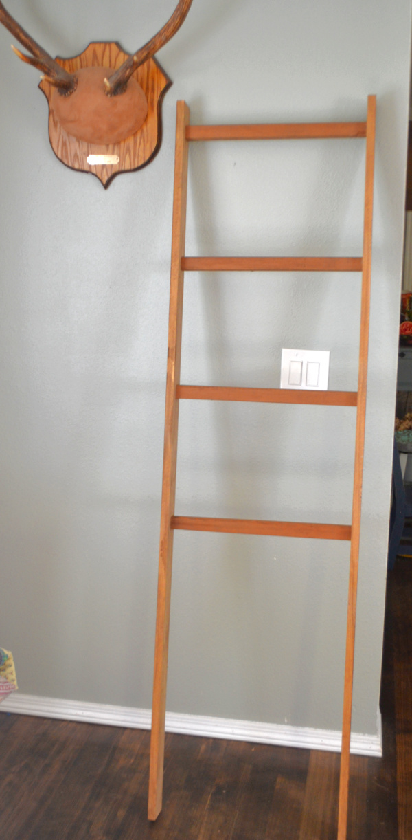 A blanket ladder with four rungs leaning against a gray wall with elk antlers in the upper left hand corner and white trim at the base of the wall