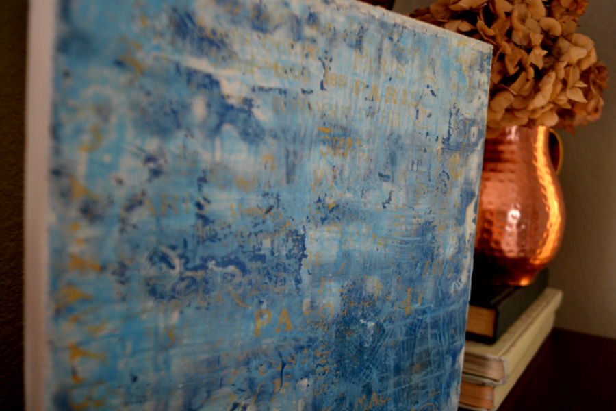 A close up photo of a finished encaustic art piece