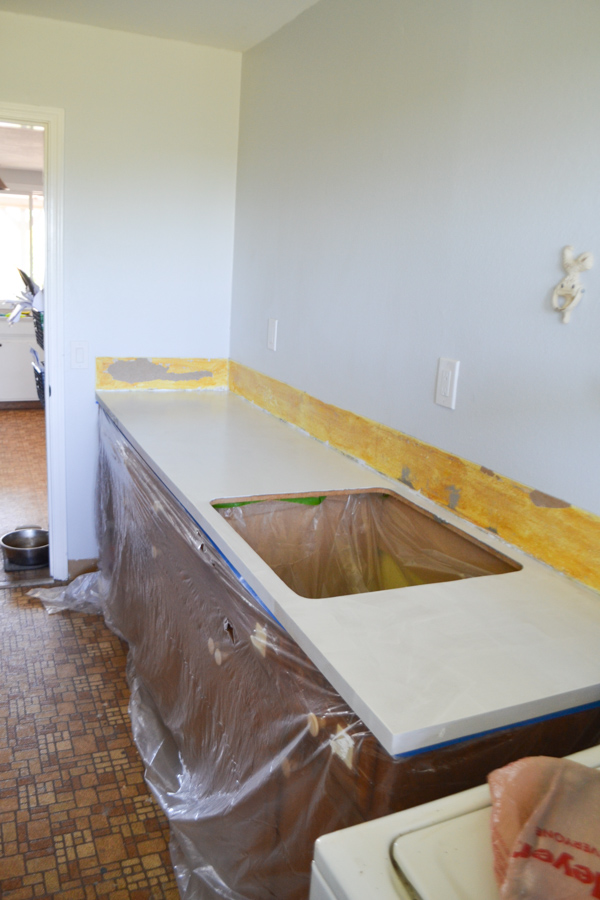 A white painted laminate countertop