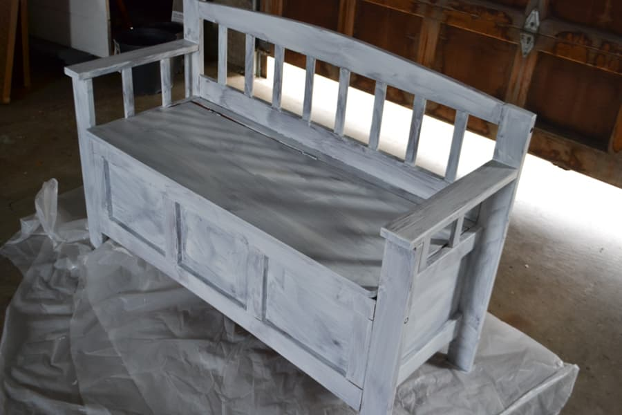An above view of a shoe bench with white primer