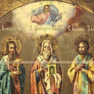 Большая старинная православная икона Три Святителя или ...