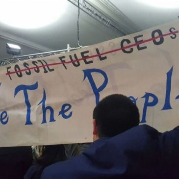 We the people not Fossil Fuel CEOs banner