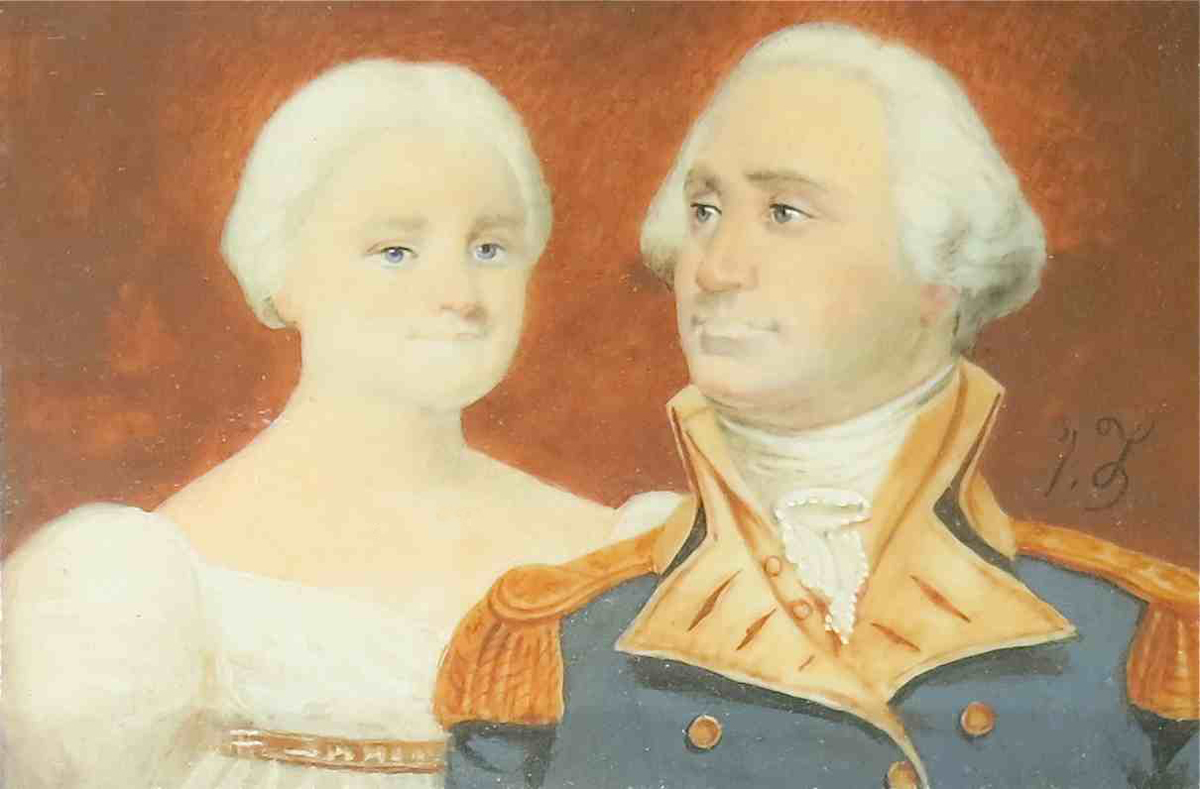 George And Martha Washington Miniaturethe 19th Century