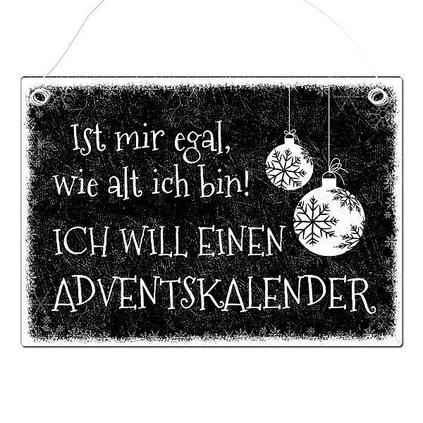 Weihnachtsgeschenk Blechschild A4 Schneegestöber mit Wunschtext im Format A4 schwarz