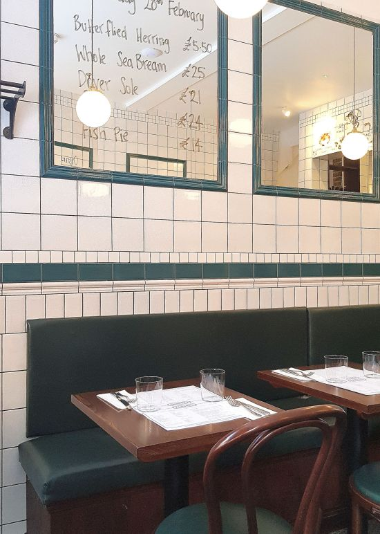 If you're looking for a London fish restaurant, look no further than Parsons, whose walls have old fashioned fish shop tiles.